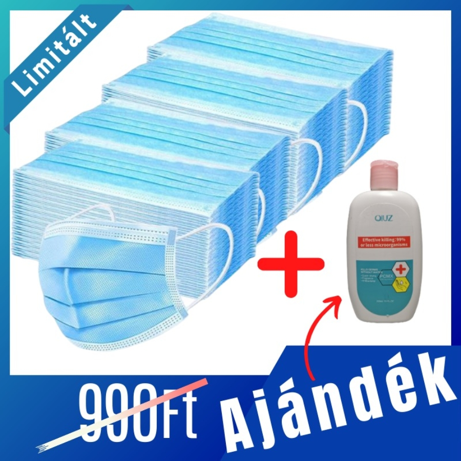 LIMITÁLT csomag [200 db Maszk + 1 db 200 ml kézfertőtlenítő]
